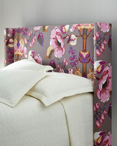 Modern Divan Design Flower Printed Headboard Bedroom Furniture King Size Bed
