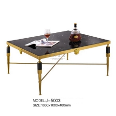 Contemporary Gold Metal Rectangular Marble Top Corner Table