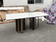 New Elegant Solid Wood And Metal Leg Design Marble Top Dining Table