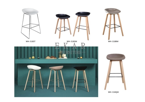 Wooden Leg Stool Armless High Bar Chair For Bar Table