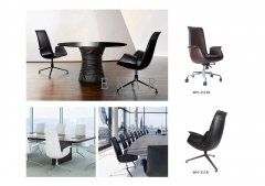 Contemporary Leather Chair Metallic Leg Office Chair