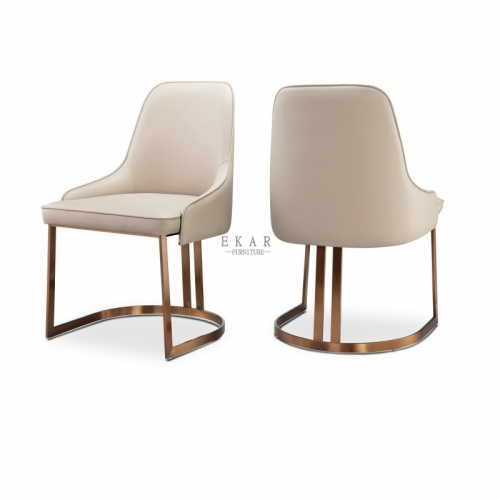 Modern Rose Gold Stainless Steel White PU Leather Dining Chair