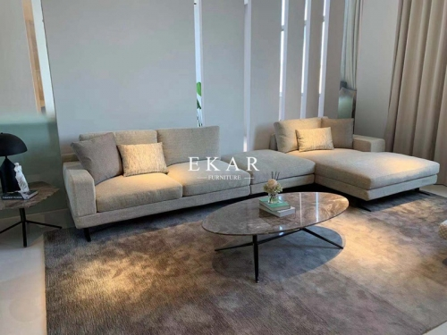 Italian Modern Living Room Upholstery L Shape Corner Fabric Sofa Set