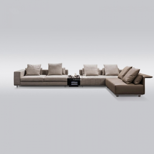 European Design Stainless Steel Frame Microfiber Leather And Linen Fabric Sofa