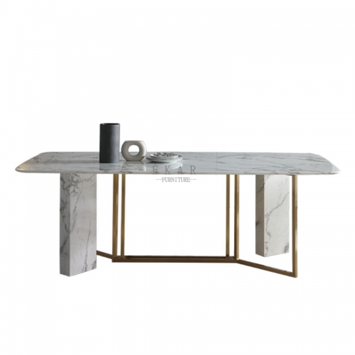 Metal Frame White Marble Dining Table