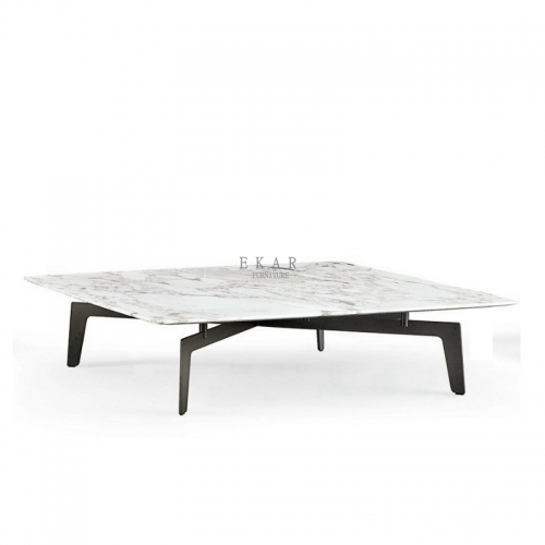 Modern Square Metal Leg Marble Coffee Table