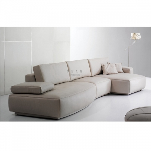 Contemporary Upholstery Metal Base Simple Design Feather L Shaped Sofa