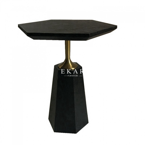 European Style Black Stainless Steel Walnut Side Table