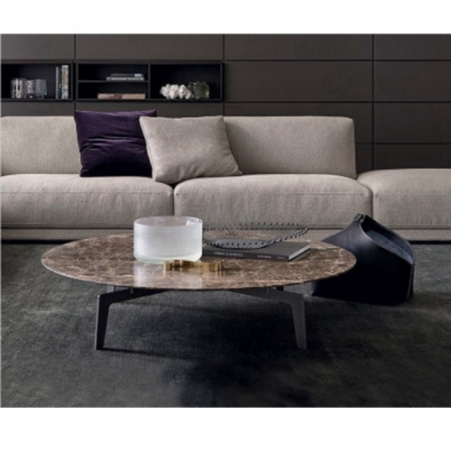 Stainless Steel Round Marble Top Coffee Table