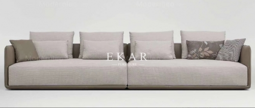 Long Leather and Fabric Modern Design Couch Sofa
