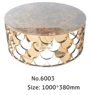 Home Furniture Round Metal Frame New Style Marble Coffee Table