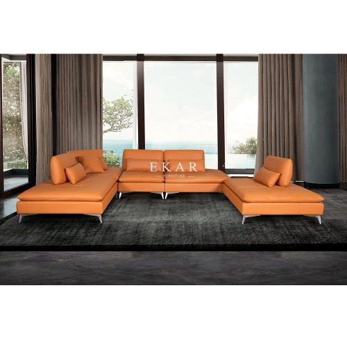 Customized Modern Metal Base Wooden Frame Genuine Leather Sofa Set