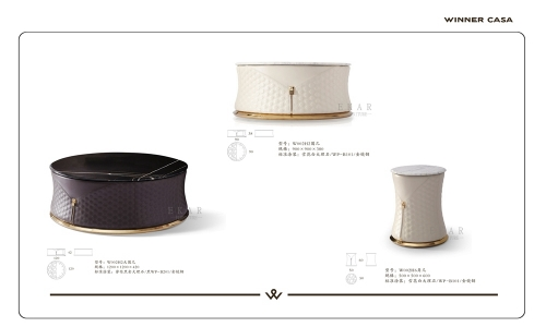 Round Shaped Modern Marble Leather Corner Side Table
