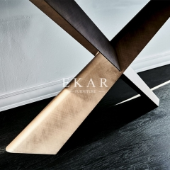 Metal X Shaped Base Modern Italian Style Console Table