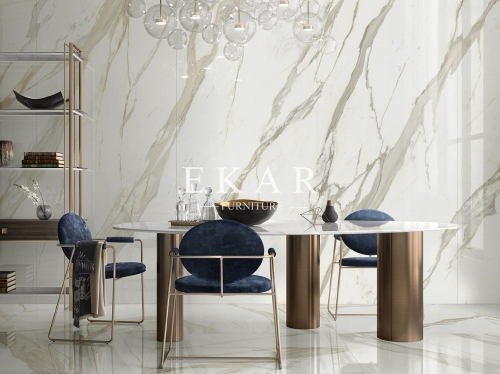 Metal Cylinder Legs Contemporary Dining Table