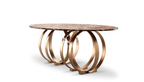 Modern Stylish Metal Round Base Long Dining Table