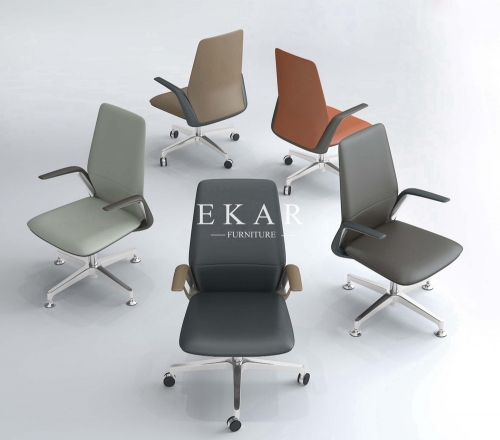 Modern Swivel Pu Leather Meeting Conference Chair With Armrest
