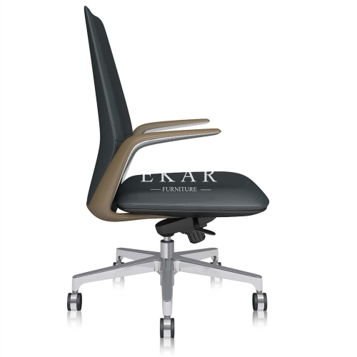 Postmodern Style Mid-Back Faux Leather Office Chairs Fashionable And Simple Swivel Chair
