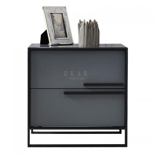 Black frosted bedside table luxury creative stainless steel base