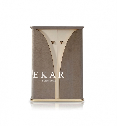 Metal Decoration High Gloss Veneer 2 Doors Cabinet