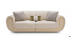 Elegant Design White Leather Living Room Sofa Set