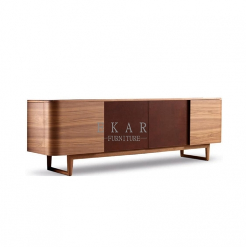 Catalpa base lacquered in walnut color sideboard