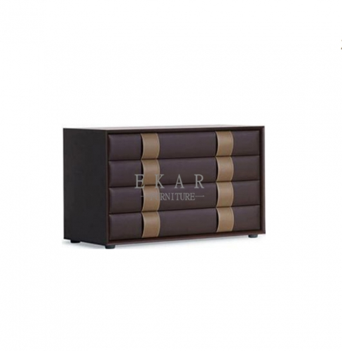 4 wood drawers MDF cover with leather sideboard
