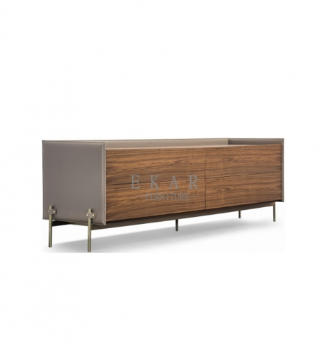 """H"" shape stainless steel MDF feet veneered in walnut sideboard"