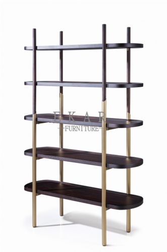 Wood in lacquer metal tube in copper brushed bookcase