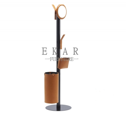 Metal pendant cover with hard-leather clothes stand
