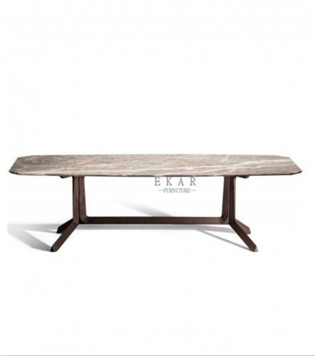 Stainless steel in pure copper brushed dining table
