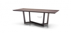 MDF(25MM) veneered in walnut in lacquer dining table
