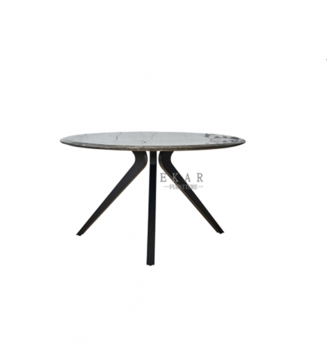 Marble on top in polished stainless steel triangular cross section dinning table