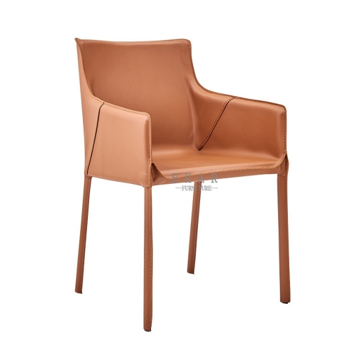 Metal frame hard leather dining chair