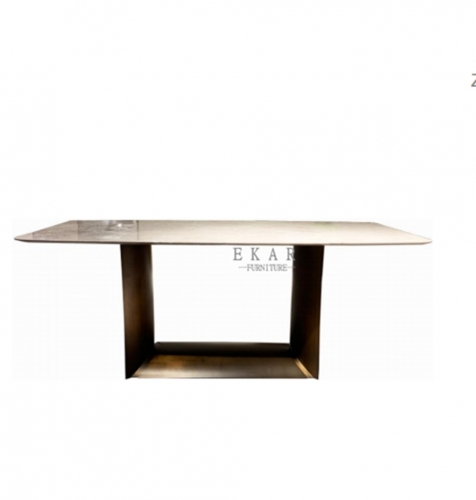 MDF lacquer in matte black stainless steel dining table
