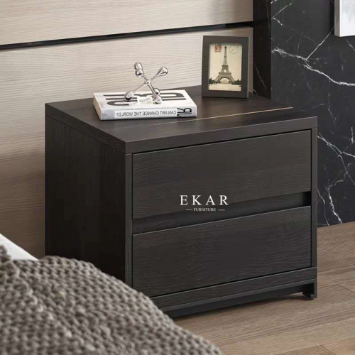 Simple Modern Style with Two Drawers Black Nightstand Bedside Table