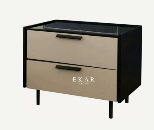 Modern Deisgn bedroom set bedside table of drawer bedroom furniture nightstand with Stainless steel feet