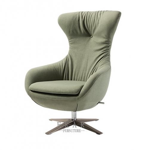 Matel base in nickel brushed leisure chair