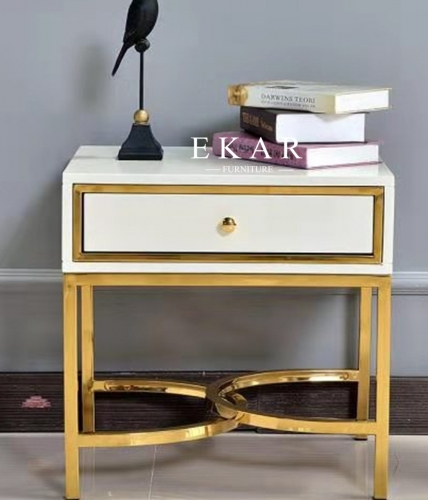 Modern bedroom furniture wooden 1drawer white bedside table