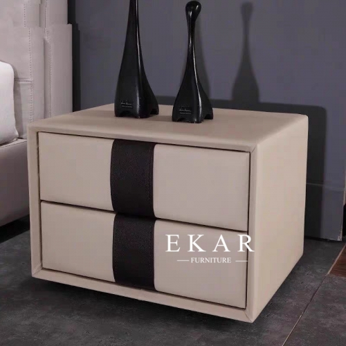 Contemporary MDF cover with Leather 2 Wood Drawers Stand Bedside Table