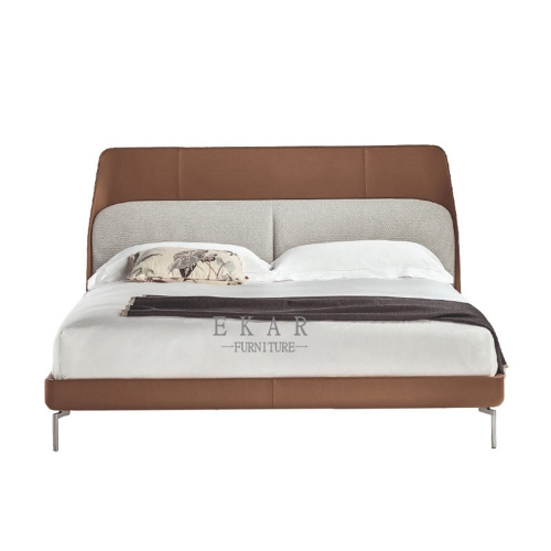 Solid wood stainless steel feet king size bed