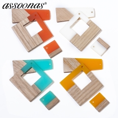assoonas M303,wood jewelry accessories,Square earrings pendant,10pcs/lot