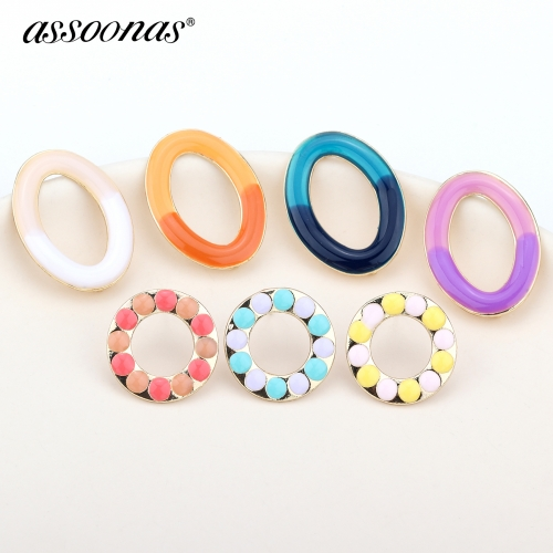 assoonas M358,round metal earrings,diy earrings pendant,10pcs/lot