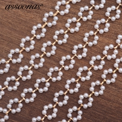 assoonas C40,Pearl ring chain,jewelry accessories,50cm/lot