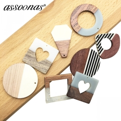 assoonas M188 diy wood acrylic earrings jewelry accessories 10pcs/lot