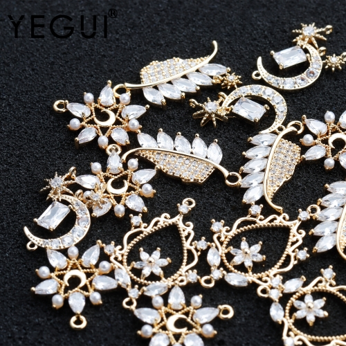 YEGUI M908,jewelry accessories,18k gold plated,zircon,copper metal,charms,hand made,earring pendant,jewelry making,10pcs/lot