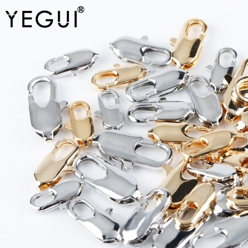 YEGUI M928,jewelry accessories,lobster clasp hooks,18k gold plated,copper metal,rhodium plated,handmade,jewelry making,10pcs/lot
