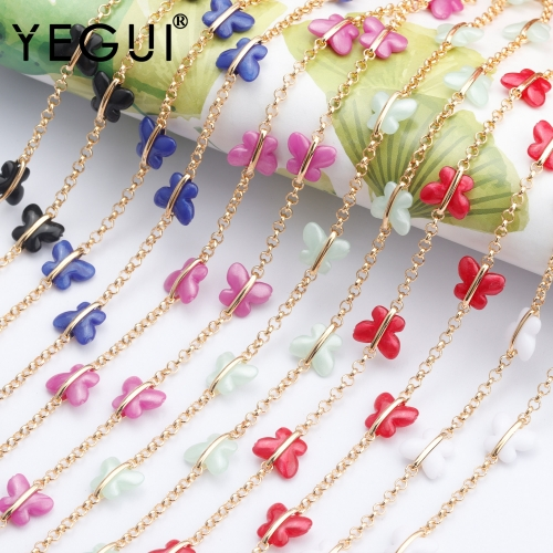 YEGUI C133,jewelry accessories,diy resin chain,18k gold plated,0.3 microns,charms,diy bracelet necklace,hand made,1m/lot