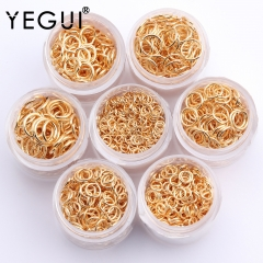 YEGUI M484,jewelry accessories,18k gold plated,0.3 microns,jump ring,hand made,environmental protection,jewelry making,20g/pack