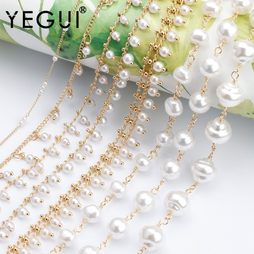 YEGUI C179,diy chain,18k gold plated,copper metal,plastic pearl,charms,hand made,diy bracelet necklace,jewelry making,1m/lot